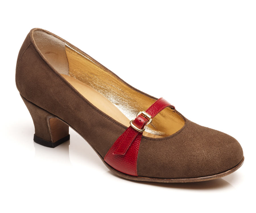 Ladies mary-jane brown suede
