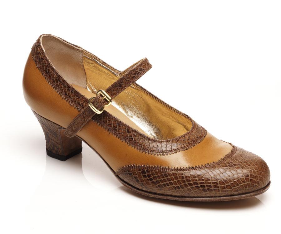 Ladies mary-jane tan brown