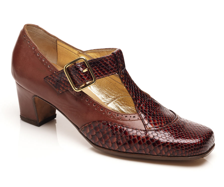 ladies t-bar brown leather